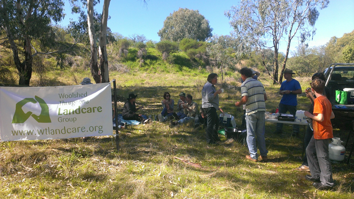 Barbeque during the weed removal for Bush Regeneration at Spillway Reserve - Woolshed Thurgoona Landcare Group